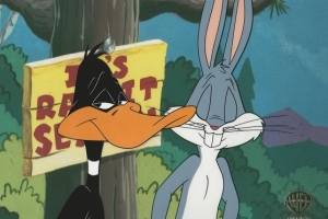 Bugs Bunny and Daffy Duck grin