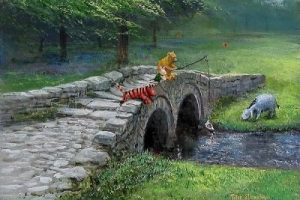 Pooh Fishing With Friends - canvas