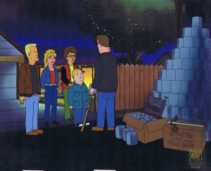Hank Hill with Peggy, Boomhauer, Bobby Hill