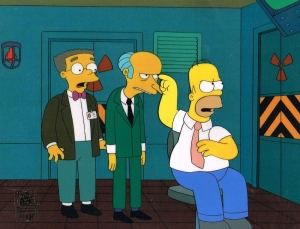 Homer Simpson with Mr.Burns and Smithers