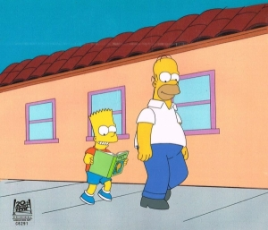 Homer and Bart walk