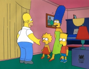 Homer Simpson with Marge, Bart, Lisa