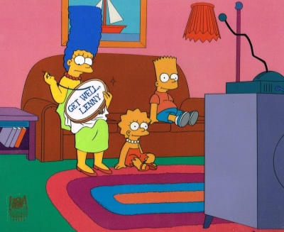 Marge needlepoint with Bart and Lisa