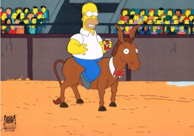 Homer Simpson on donkey