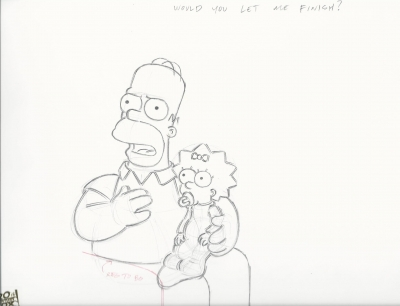Homer Simpson with Maggie on lap