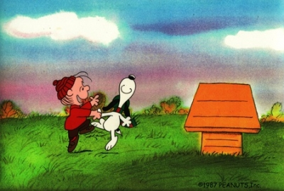 Linus and Snoopy dance