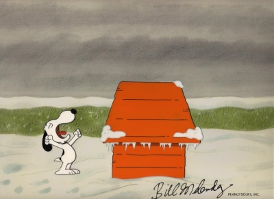 Snoopy yawning at his dog house