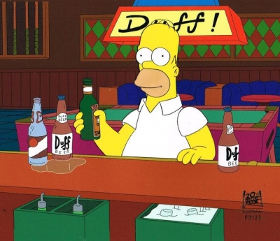 Homer Simpson drinking at Moe's