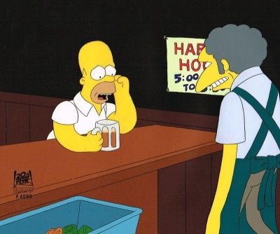 Homer Simpson and Moe at bar pondering
