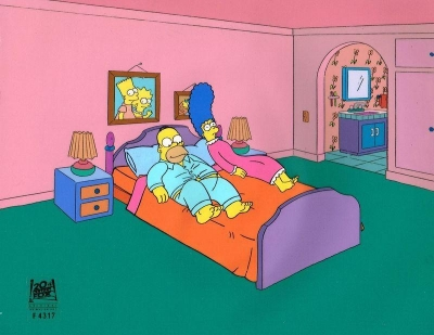The Simpsons Original Background with Production Cel from King Sized Homer