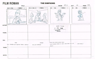 The Simpsons Original Storyboard 4F19 #99